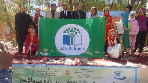 رفع اللواء الأخضر بالمدرسة المركزية لمجموعة مدارس تمجيشت بورزازات