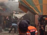 اندلاع حريق بأحد المحلات المعدة لبيع السندويتش بالسوق المركزي لمدينة تنغير + فيديو