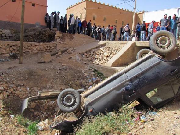 تنغير…..حادث انقلاب سيارة خفيفة بضواحي قلعة مكونة