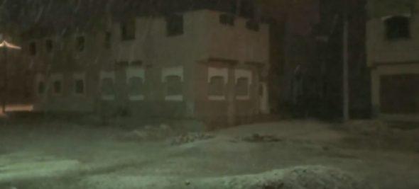 تساقطات ثلجية بمدينة الرشيدية مساء الاحد 28 يناير 2018