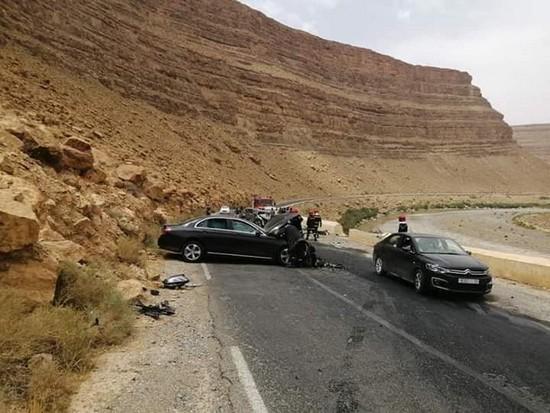 عاجل حادثة سير خطيرة بالطريق الوطنية رقم 13 باتجاه مدينة الريش
